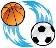 Fire balls. A soccer ball and a basketball ball with blue fire vector illustration