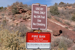 Fire Ban and Trail Use sign Stock Image