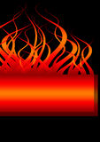 Fire banner flames. A burning flames banner with copy-space on a black background Royalty Free Stock Photography