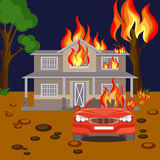 Fire banner reaistic vector. Burning house, red automobile and tree Royalty Free Stock Photo