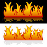 Fire Banners. Two fire banners with flames, on black and white background. Eps file available Stock Photos