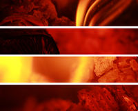 Fire Banners. Four banners of fire ideal for websites Royalty Free Stock Images