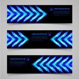 Fire banners. Banners with blue flaming arrows for your design Stock Images