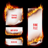 Fire banners. Hot fire banners set with orange flames for your design Royalty Free Stock Photo