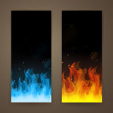 Fire Banners. Illustration of abstract hot burning Fire Banners Stock Images