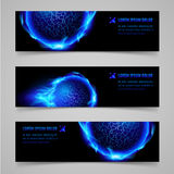 Fire banners. Mystic banners with blue flaming spheres for your design Stock Image