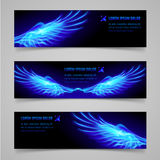 Fire banners. Mystic banners with blue flaming wings for your design Royalty Free Stock Photography