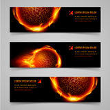 Fire banners. Mystic banners with orange flaming spheres for your design Stock Images