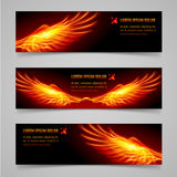 Fire banners. Mystic banners with orange flaming wings for your design Stock Images