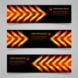 Fire banners. Banners with orange flaming arrows for your design Stock Image