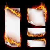 Fire banners. Realistic Fire Flames Banner Set with Spurts of Flame. Heat and Burn, Blaze and Energy on Black Background Stock Photo