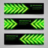 Fire banners. Set of banners with green flaming arrows Royalty Free Stock Photography