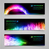 Fire banners. Set of mystic banners with multicolored flame Stock Photography