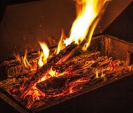 Fire for barbecue. Charcoal in barbecue for cooking meat and vegetables royalty free stock photography