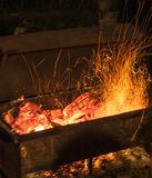 Fire for barbecue. Charcoal in barbecue for cooking meat and vegetables Stock Images