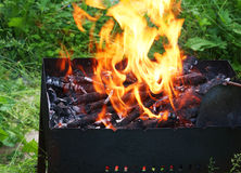 Fire in Barbecue, closeup Royalty Free Stock Images