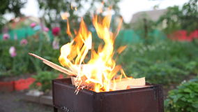 Fire in barbecue stock footage