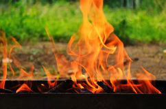 Fire on barbecue grill Royalty Free Stock Photos