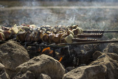 Fire with barbecue. Skewers of meat with barbecue fire royalty free stock photos