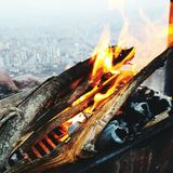 Fire Barbeque in Ali Mountain, Kayseri Royalty Free Stock Photo