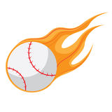 Fire Baseball Vector and Icon. Flying Fire Baseball Vector and Icon Stock Images