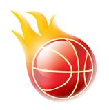 Fire basketball. Sparkling basketball in flame on white background Stock Photos