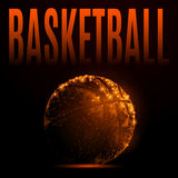 Fire basketball ball. Abstract mash line and point basketball ball in flames style on dark background with an inscription. Vector polygonal sport background Royalty Free Stock Photo