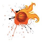 Fire Basketball Ball. Grunge background with basketball ball with flame and spatters Royalty Free Stock Image