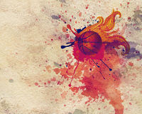 Fire Basketball Ball. Grunge background with basketball ball with flame and spatters Royalty Free Stock Images