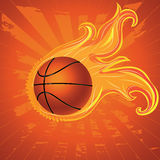 Fire Basketball Ball. Grunge orange background with basketball ball and flame Royalty Free Stock Images