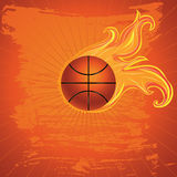 Fire Basketball Ball. Grunge orange background with basketball ball and flame Stock Photos