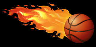 Fire basketball. Basketball on fire with black background Royalty Free Stock Photography