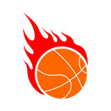 Fire basketball. Flame ball. Emblem game sport team Royalty Free Stock Photo
