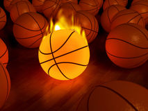 Fire basketball glow ball. Fire basketball glow game ball over the hardwood floor (3D Stock Image