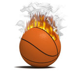 Fire basketball item. Fire basketball game bal over the white bachground (3D Royalty Free Stock Photography