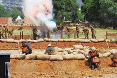 Fire on the battle field. Royalty Free Stock Image