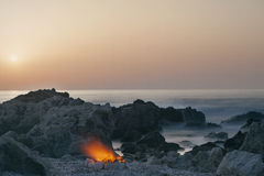 Fire on the Beach Stock Photography