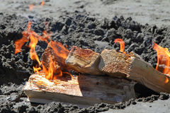 Fire on Beach Stock Photos