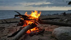 Fire on a beach at twilight stock video footage