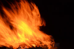 Fire. A beautiful fire on a black background, hot flame of fire will warm each Royalty Free Stock Photo