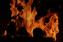 Fire Behind Screen Stock Images