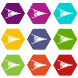 Fire bellows icon set color hexahedron Royalty Free Stock Photography