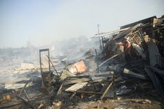FIRE OF BIBIS MARKET. Local firemen fights fire that raze Bibis Furniture Market, in Solo, Java, Indonesia Royalty Free Stock Image