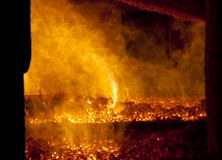 Fire in big furnace Royalty Free Stock Image