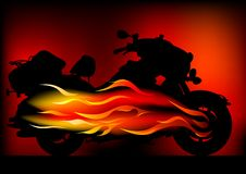 Fire bike. Vector graphic motorcycle on fire. Silhouetted against the flames Stock Photography