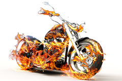 Fire bike. Motorcycle on fire on a white background Stock Images