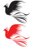 Fire bird. Black and red bird on white background Royalty Free Stock Photos