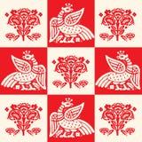 Fire Bird Phoenix, Seamless Pattern, Vector Illustration. Firebird Logo. Stock Photo