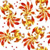 Fire - bird seamless pattern vector illustration