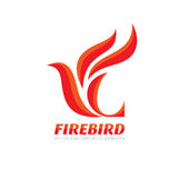 Fire Bird - vector logo template concept illustration. Abstract flame creative sign. Phoenix mytphology symbol. Design element.  Stock Photo